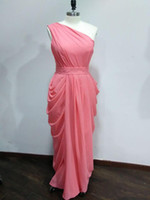 Real Image Sleeveless Long Pleats Chiffon Bridesmaid Dresses...