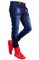 Bahar Elastik Bel Jeans Erkek Giyim Jogger Pantolon Stretch Tasarımcı Yıkanmış Denim Mavi Pantolon