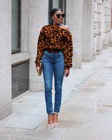 Kadınlar Hoodies Sweatshirt Dudaklar Leopard Baskı Çarpıklık Yaka Bırak-omuz Düğme Tasarım Uzun Kollu Casual Kazak Süveter