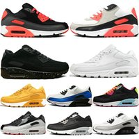 90 90S Men Running Shoes Infrared Patch Triple Black White L...