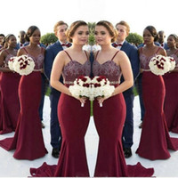 Burgundy Long Bridesmaid Dresses Lace Applique spaghetti str...