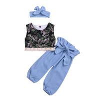 ملابس الاطفال 2019 طفل أزياء الصيف تي شيرت الأعلى + بنطلون + شعر طفلة ملابس 3 قطعة مجموعة أطفال مصمم ملابس الفتيات
