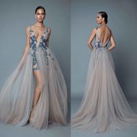 Robes de soirée 2020 Berta avec des presses à boulottes plongeant à col en V robe de bal sans dos avec des robes de soirée longueur perlée applicées E031