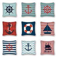 بحري وسادة غطاء وسادة الزخرفية يغطي البحرية مرساة ديكور البحر المحيط الأزرق وسادة الأريكة الوسائد كيسين المنزل أريكة السرير