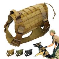 Ajustável Serviço Tático Vest Cão Treinamento Caça Molle Nylon Resistente à Água Arnês de Cão de Patrulha com Handle Hunting