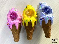Tubo in silicone per gelato con vaschetta in vetro colore casuale Silent dab rig Narghilè Bong in vetro per bocce strumento all'ingrosso 529