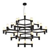 villa moderna lámpara de araña ático salón lámparas pendientes de luz colgante de lobby de lujo candelabro se enciende las luces del techo