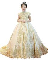 Vestidos de concurso de renda para meninas adolescentes frios Uma linha flor flor vestidos para casamentos júnior glitz primeiro vestido de comunhão crianças vestir formal
