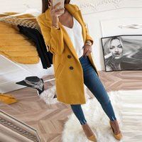 النساء مزيج معطف الخريف والشتاء بدوره إلى أسفل طوق طويل الصوف الإناث معطف سترة بالاضافة الى حجم الإناث معطف عادية Windbreake