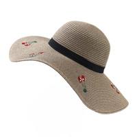 Verano Mujeres Plegable Sol UV Protección Sombrero Sombrero Sombrero Sombrero Con Bordado Cerezo Señoras Gran Brim Brim Sombrero Flor Sombrero