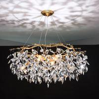 Люстры Люстра Кристалл подвеска лампы Золото Branch Свет Освещение Lamparas Modernas Salones Отель Grandes LED Люстра MYY