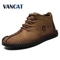 Vancat Moda Erkekler Çizmeler Yüksek Kaliteli Bölünmüş Deri Ayak Bileği Kar Botları Ayakkabı Sıcak Kürk Peluş Dantel-Up Kış Ayakkabı Artı Boyutu 38 ~ 48