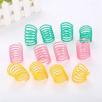 Cute Cat Spring Toys Wide Durable Heavy Gauge Plastic Colorful Cat Toy Juguetes para gatito Pet Accesorios 100 unids