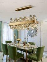 Luxus Schwarz / Gold Kronleuchter Beleuchtung für Esszimmer Villa Apartment Wohnzimmer Rechteck Hängen Light Learnes Moderne Kücheninsel Cristal Pendelleuchte