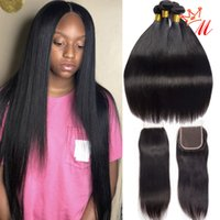 Peruvian Virgin Human Hair Straight Bundles With Closure 8A ...