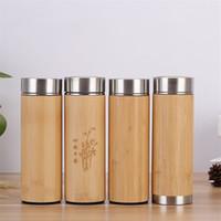 Bottiglia 15 once di bambù Bicchiere acqua dell'acciaio inossidabile Insulated tazza di caffè eco friendly tazza di corsa a vuoto di bambù dritte Bicchieri A03