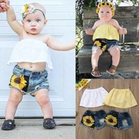 Toddler Baby Girl Kid Off Shoulder Crop Tops+ Sunflower Hole ...