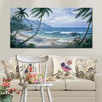Handgefertigte Ölgemälde Strand mit Palmen Paradies modernen Landschaften Grafik für Wanddekor