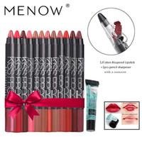 메이크업 Menow 12 컬러 / 팩 키스 증거 방수 립스틱 선물 1PCS 연필 깎이를 설정하고 1PCS 리무버 젤 드롭 선박 5366