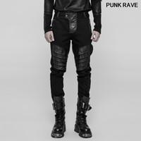 Personalidad de la tela cruzada del dril de cuero de la PU de la cremallera de metal casuales pantalones negros punk rock Armor enfríen manera de los hombres Pantalones PUNK RAVE WK-337XCM
