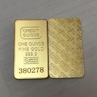 20 adet Olmayan manyetik KREDI SUISSE 1 oz gerçek Altın Kaplama Külçe Bar İsviçre hatıra külçe sikke farklı lazer numarası ile 50x28mm bar