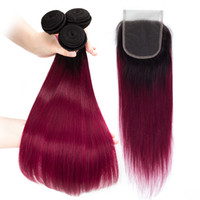 Black and 1b burgundy Peruvian Straight Hair Bundles With La...