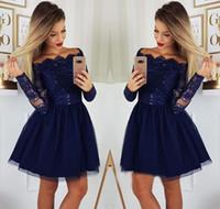 Azul marino azul manga larga vestidos de inicio 2019 una línea apliques juniors dulce 15 graduación cócteles vestido de fiesta más tamaño hecho a medida