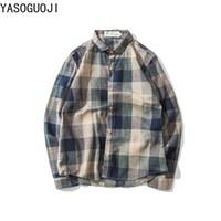 Camisas casuales de los hombres Yasuguoji 2021 Camisa de tela escocesa de otoño Cuello cuadrado Single Breasted Mense Mensaje para hombre L099