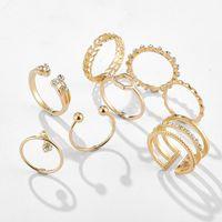 8 pçs / sets bohemian anéis geométricos conjuntos CZ Crystal Stone Anéis de Ouro para Mulheres Moda Anel de Casamento Set
