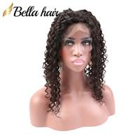 """Brasiliana capelli ricci 360 Full Frontal pizzo 22x4x2"""" 100% Virgin non trasformati estensioni dei capelli umani 360 Pizzo frontale Chiusura Bellahair"""