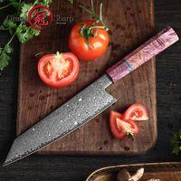 8,2-Zoll-Kochmesser VG10 Damaszener Japanische Küchenmesser Kiritsuke Messer Fleisch Gemüse Slicing mit Gift Box Grandsharp