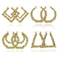 2019 مجوهرات فاخرة متعددة الأشكال العرقي كبير خمر مطلية بالذهب الخيزران هوب أقراط للنساء 9 طرق الاختيار الحر