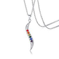 De haute qualité Gay Pride S forme de bijoux en acier inoxydable coloré pendentifs strass Colliers couleur arc-en-Colliers exquis