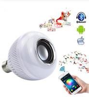 Sem fio Bluetooth Speaker LED 12W Lâmpada de áudio Speaker E27 RGBW jogar a música luz da lâmpada Com 24 Chaves Controle Remoto