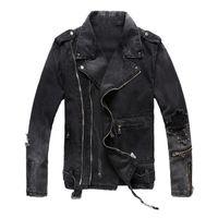 Erkek Marka Moda İnce Siyah Ceket Yaka Boyun Denim Katı Fermuar Delik Erkek Sıcak Satış Coats