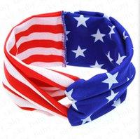 بنات العصابة الأمريكي العلم أرنب الأذن الشعر الفرقة الوطنية عيد الاستقلال يوم مخطط ستار الطفل معقود العصابة اكسسوارات الشعر D52704