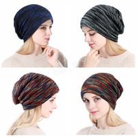 Bonnets tricotés multicolores d'hiver épaisse hiver bonnet coloré Chunky Crochet Slouchy Loose Beanie Skull Baggy Outdoor Cap LJJA2932