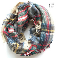 Manera de la mujer Mantas Infinity bufandas cuadrícula Loop bufanda de la señora del tartán de gran tamaño Mantón de celosía Wraps con flecos Mantas TTA1776