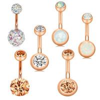 Paslanmaz Göbek Düğme Halkalar Ombligo Piercing 14G Rose Gold Vida göbek Bar Piercing Nombril Seksi Kadınlar Vücut Takı