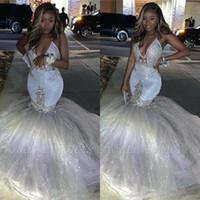 Glitter Silver Sexy V Collo V Sirena Prom Dresses Spaghetti senza maniche africane Lungo Puffy Formale Abiti da sera Graduazione Party Dress BC3420