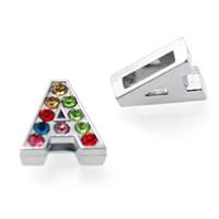 8MM DIY strass Inglês encantos alfabeto slides Charms A-Z para 130pcs pulseira / lot atacado jóias mulheres LSSL015 * 130 flutuante