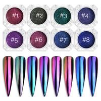 NA005 Nial art Chrome Mirror poudre Nail Art Glitter Caméléon pigment poudre manucure Conseils décoration Accessoires Gel Polish poussière