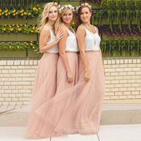 Hot Cheap Bridesmaid Dresses Tulle Skirt Blush Blue Pink Bla...