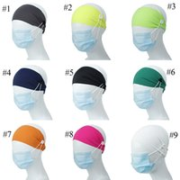 9 Farben-Stirnband mit Knopf für Earloop Staubmaske Frauen Gym Sport Yoga verschränkt Haarbänder Headwrap elastische Haar-Accessoires