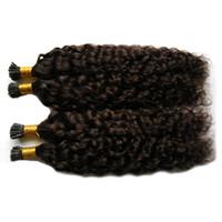 Heiße italienische Keratin Fusion Stick TIPP Human Hair Extensions Günstige Mongolian Kinky Curly Hair Pre Bonded Nagel TIP Remy Haarverlängerungen Natiral