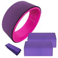 Faixas de resistência 4 pcs equipamentos de yoga conjunto de algodão de roda alongamento strap estabilidade EVA blocos de pilates meditação exercício