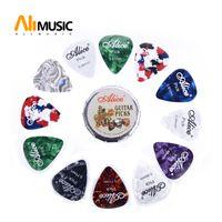 Alice Guitar Picks Celluloid Mini rotondo sveglio di latta 12pcs Plectrum Palhetas