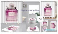 3D Digital Printing Curtain Perfume Bottle Pattern Bath Mat/Toilet Pad Set Home Decor Anti-slip Toilet Cortina de Chuveiro Impermeável