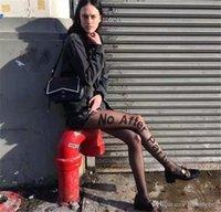 Noafterparty 여성 디자이너 편지 스타킹 패션 스트리트 스타일 섹시한 블랙 전망 자료 양말 여자 패션 양말