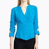 Avrupa Ve Amerikan Rüzgar Göl Mavi Ince V Yaka Şifon Gömlek Kadın Pileli Kırpılmış Kollu Düz Renk Bluz